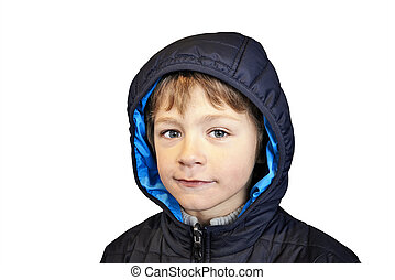 young boy - clipping path - Serious young boy isolated on...