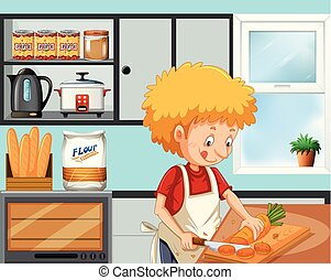 Young boy cooking in the kitchen