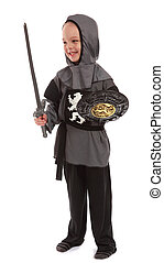 Young boy dressed as a Knight