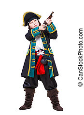 Young boy dressed as pirate