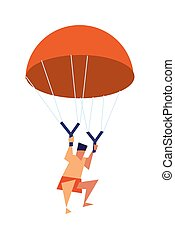 Young boy flying with parachute vector icon