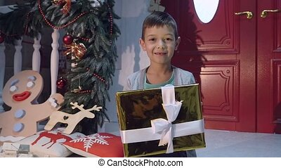 young boy giving a present to camera
