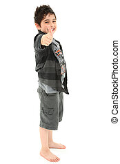 Young Boy Giving Thumbs Up Approval over White