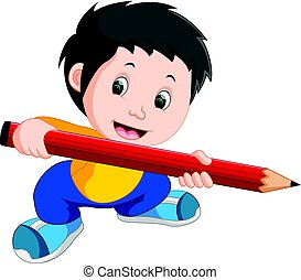 Young boy holding a big pencil