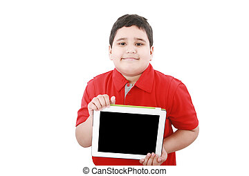 Young boy holding a tablet computer isolated on white