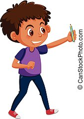 young boy holding pencil