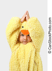 Young Boy in a baby chicken costume