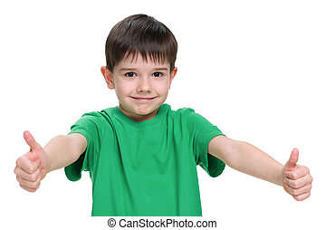 Young boy in a green shirt