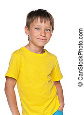 Young boy in a yellow shirt