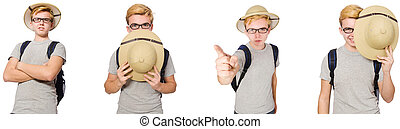 Young boy in cork helmet with backpack
