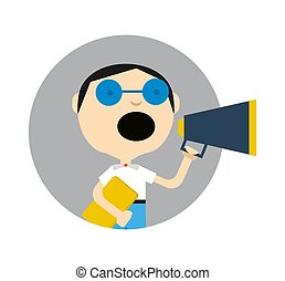 Young boy in glasses with megaphone icon