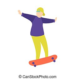 Young boy in green baseball cap does trick on skateboard