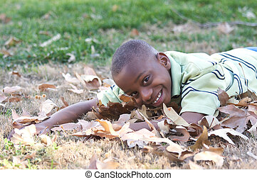 Young Boy in the Leaves