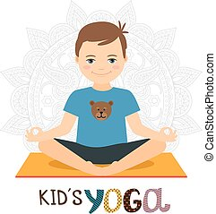 Young boy in yoga pose