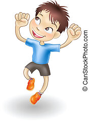 Young boy jumping for joy - An illustration of a young...