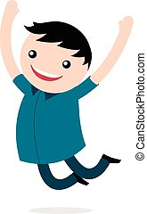 Excited happy young boy jumping for joy smiling as he celebrates his freedom leaping into the air with his arms raised, vector cartoon illustration