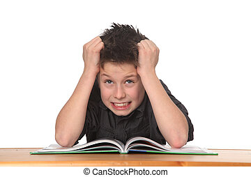 young boy learning - young boy frustrated over homework