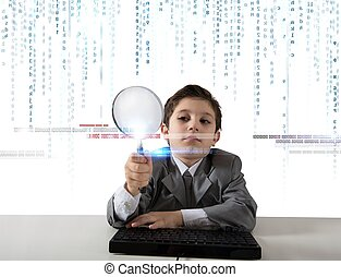Young boy looking for malicious code