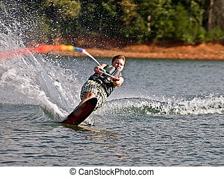Young Boy on Slalom Ski