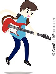 Young boy playing Electric guitar Happy Love music Vector illustration isolated on background