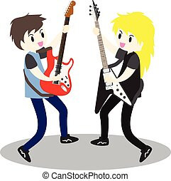Young boy playing Electric guitar Happy Love music Vector illustration isolated on background3