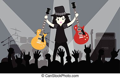 Young boy playing Electric guitar Happy Love music Vector live concert background