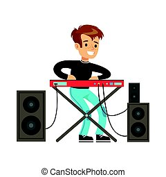 Young boy playing electric piano. Colorful character vector Illustration