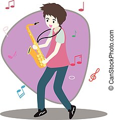 Young boy playing saxophone Happy Love music Background character design illustration vector in cartoon style