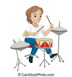 Young boy playing the drums. Vector illustration