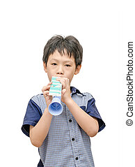 Young boy playing trumpet toy