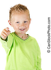 Young boy pointing - isolated