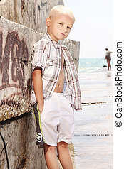 Young boy posing on vacation day