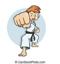Young boy practice martial arts vector illustration