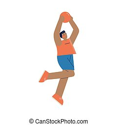 Young boy professional athlete playing basketball during competition vector illustration