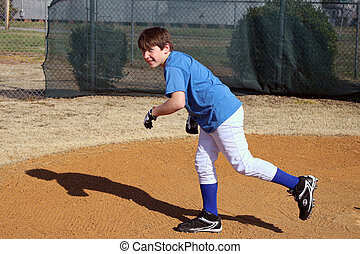 Young Boy Running the Bases