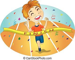 Young Boy Runs Across Finish Line