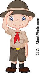 Young boy scout cartoon doing a han