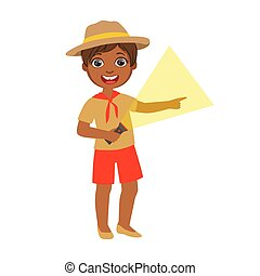 Young boy scout holding a flashlight, a colorful character