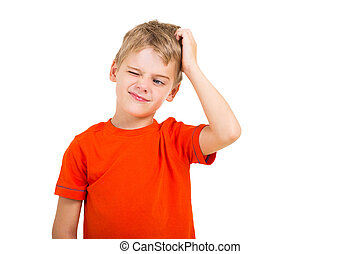young boy scratching his head isolated on white