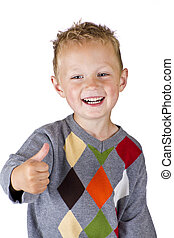 Young boy showing OK - isolated over white background