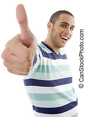 young boy showing thumbs up