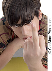 young boy showing you finger