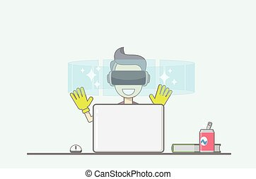 Young boy sitting behind desk in front of laptop uses virtual reality application.