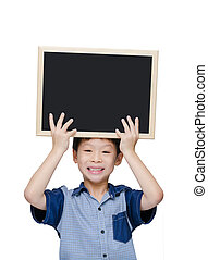 Young boy smile with chalkboard