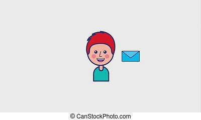 young boy smiling with envelope message animation hd