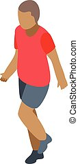 Young boy soccer player icon, isometric style