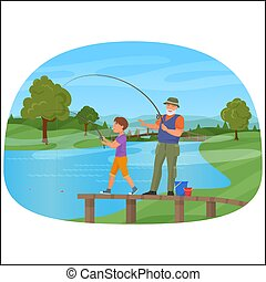 Young boy standing on a pier with grandfather and fishing.