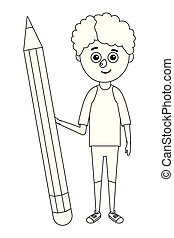young boy student pencil