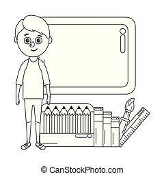 young boy student school board