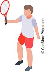 Young boy tennis player icon, isometric style
